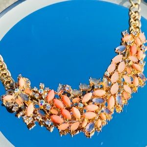 Coral statement necklace with drop earrings